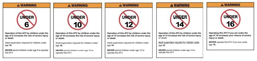 Youth ATV safety warning labels