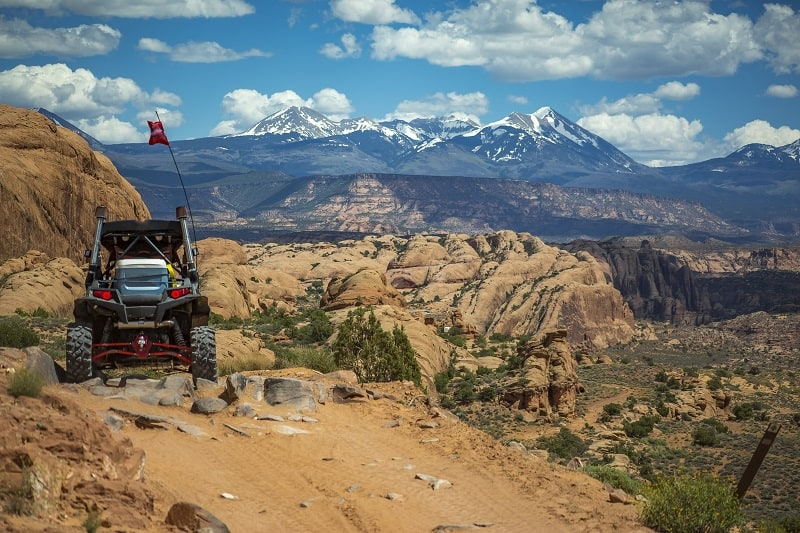ATVing in Moab view of La Sal Mountains