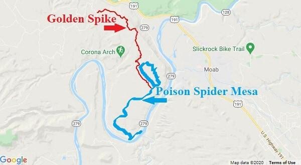 Golden Spike Moab Utah ATV trail map
