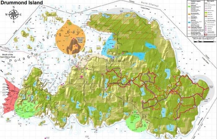 Drummond Island ATV Trails In Upper Michigan map