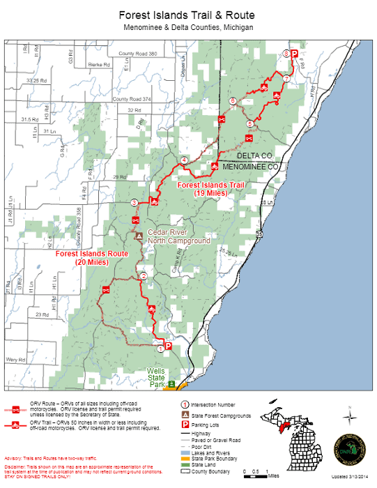 Forest Islands Trail & Route Upper Michigan map