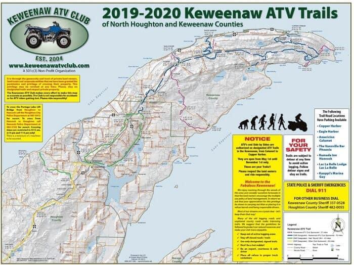 Keweenaw Peninsula ATV Trails In Upper Michigan map