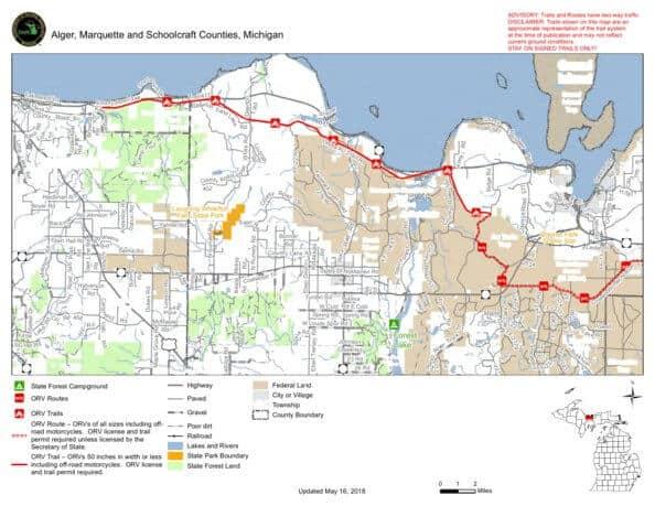 Marquette-Manistique ATV Trail In Upper Michigan map