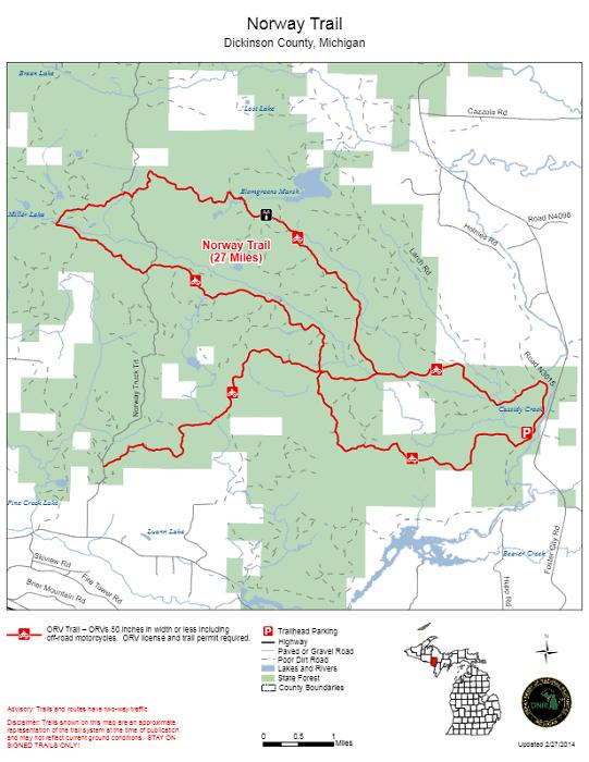 Norway ATV Trail In Upper Michigan map