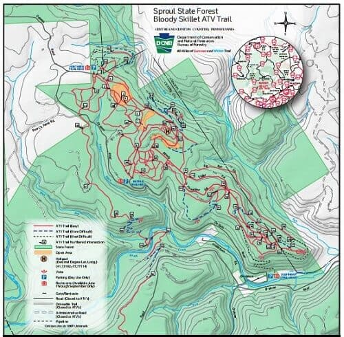 Bloody Skillet Pennsylvania ATV Trail Map