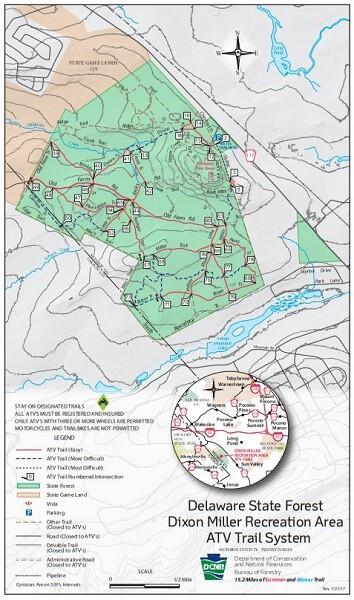Dixon Miller Recreation Area Pennsylvania ATV Trail Map