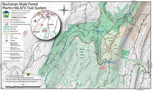 Martin Hill Pennsylvania ATV Trail Map