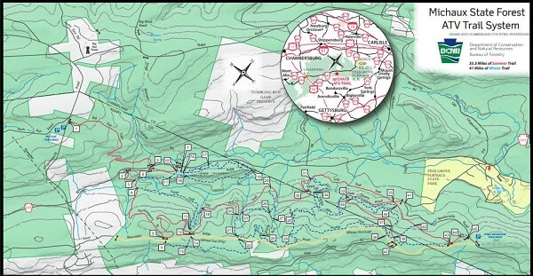 Michaux State Forest ATV trail system map