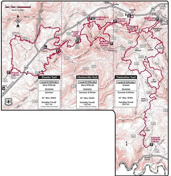 Penoke Trail Marienville Trail and Timberline Trail map