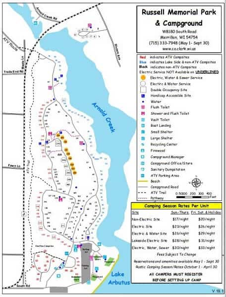 Russell Memorial Park and Campground map