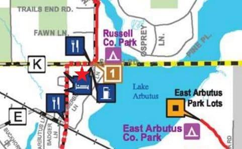 Map of Motel on the Black River Falls ATV trail