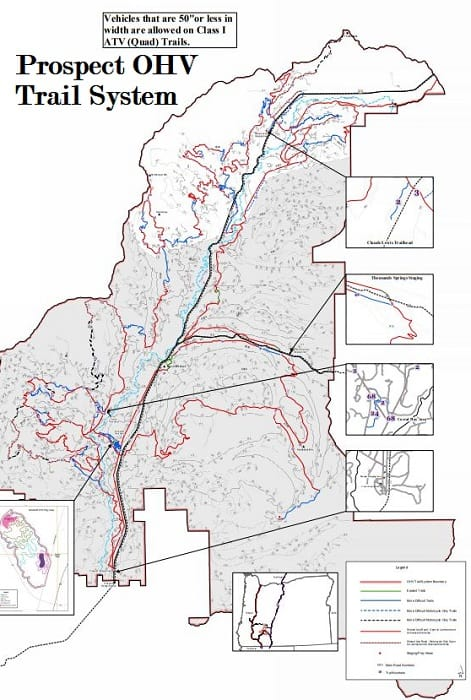 Prospect OHV Trail System Camping map