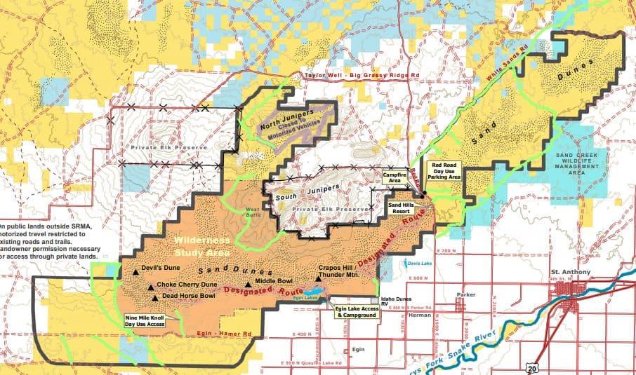 Anthony Sand Dunes map