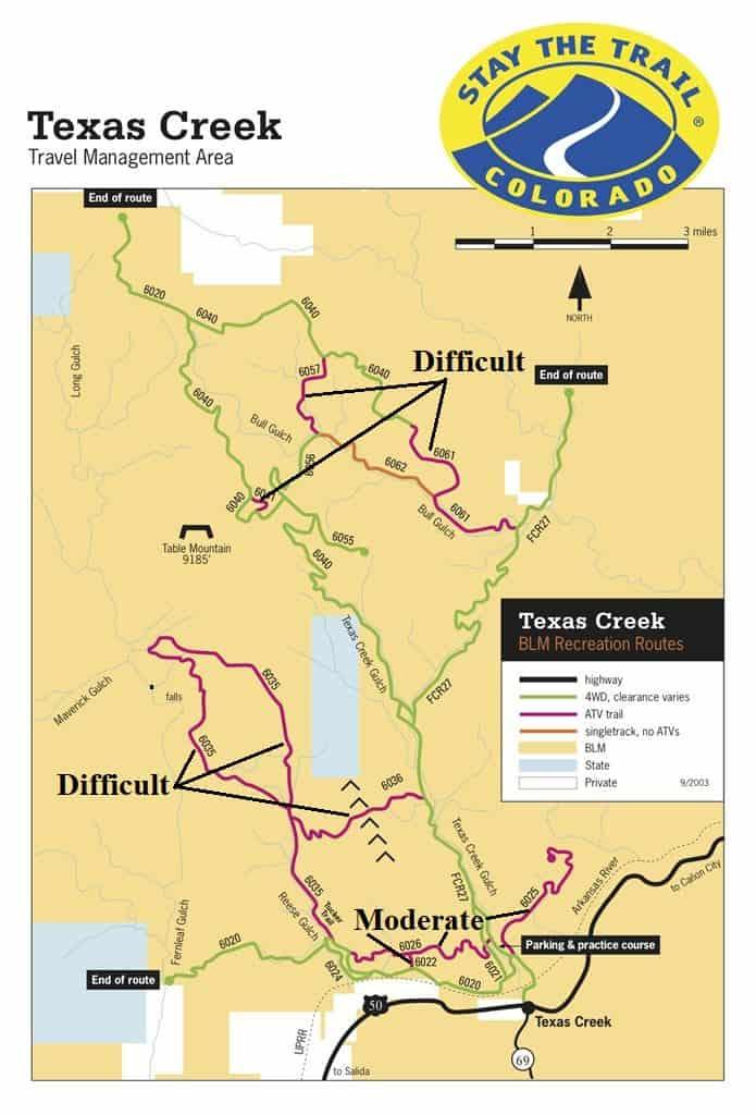 Texas Creek OHV Map