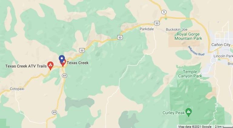 Texas Creek OHV Trail location map