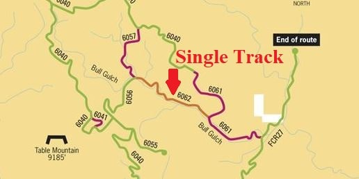 Texas Creek OHV Trail single track map